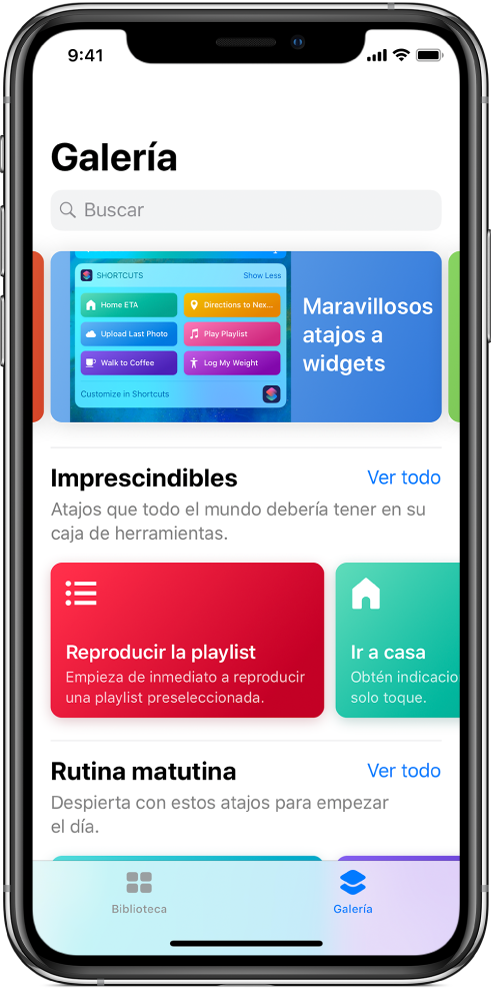 La pestaña Galería de la app Atajos con sugerencias de atajos.