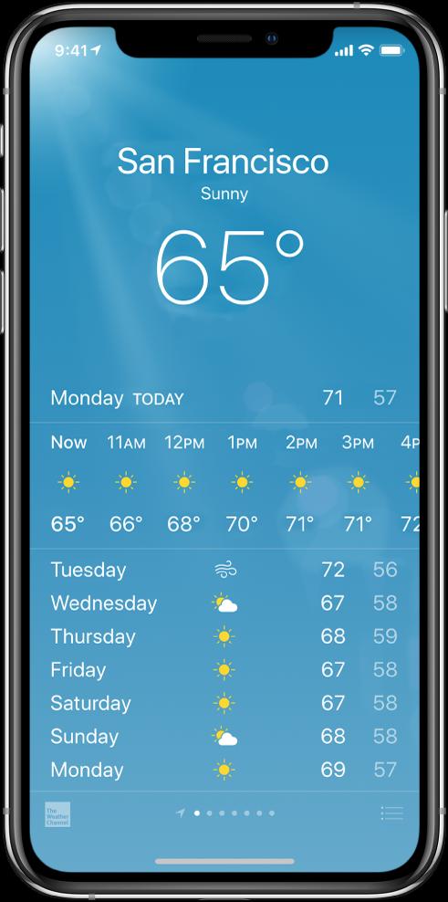 Rakenduse Weather kuva, kus on toodud linn, hetketingimused ja -temperatuur. Selle all on tunnipõhine ilmaennustus koos ennustusega järgmiseks 5 päevaks. Ekraani all keskel kuvatav punktirida tähistab teie valitud linnade arvu.