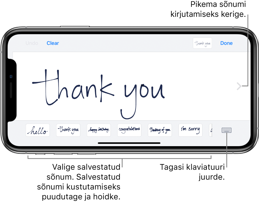 Sõrmega kirjutamise kuva koos sõrmega kirjutatud sõnumiga. Alaosas asuvad (vasakult paremale) salvestatud sõnumid ning nupp Show Keyboard.