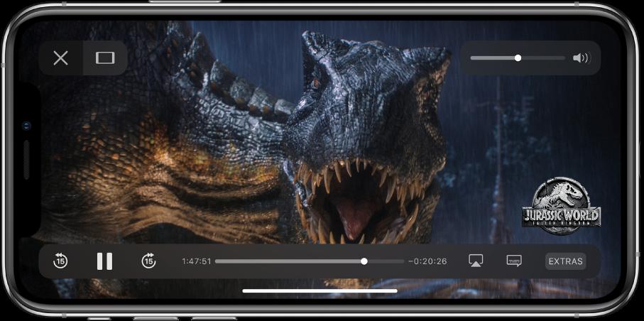 Esitatakse videot ning kuvatakse taasesituse juhtnuppe. Üleval vasakul on nupud Done ja Scale to Fill. Üleval paremal on helitugevuse liugur. All vasakul on nupud 15 sekundi võrra tagasi liikumiseks, pausimiseks ning 15 sekundi võrra edasi liikumiseks. All keskel on liugur, mida saab video asukoha reguleerimiseks lohistada; liuguri eri külgedel kuvatakse möödunud aega ja allesolevat aega. All paremal on nupud video sihtkoha muutmiseks, subtiitrite kuvamiseks ning lisasisu esitamiseks.