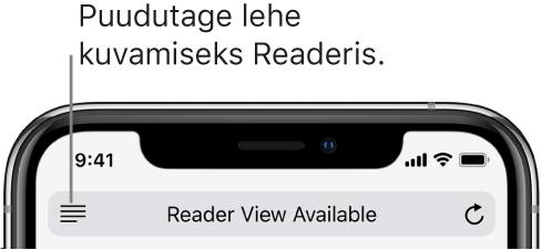 Safari aadressiväli koos vasakul oleva nupuga Reader.