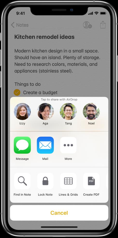 Jagamise kuva koos valikutega märkme jagamiseks teenusega AirDrop või rakendustega Messages või Mail.