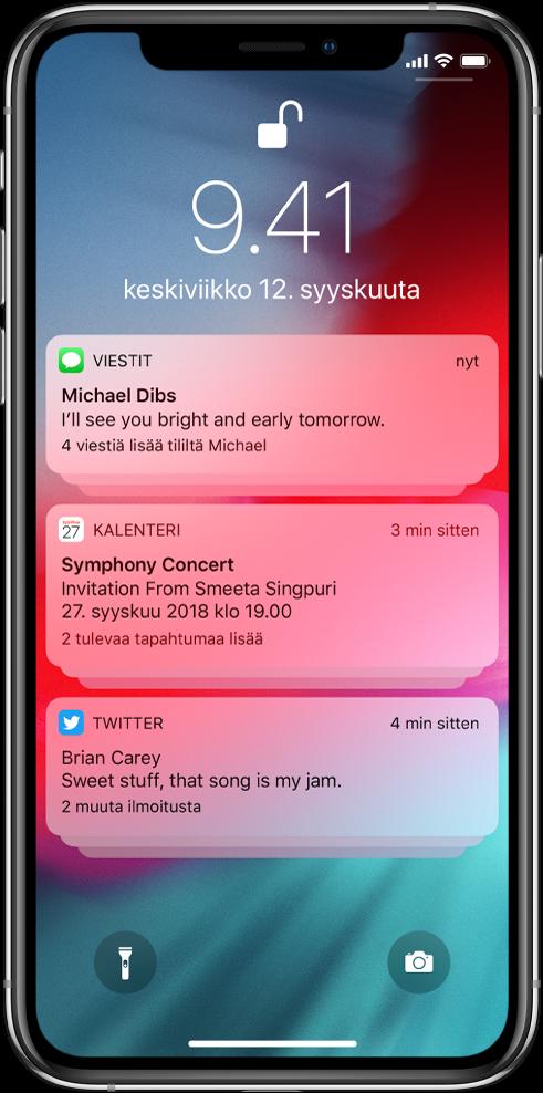 Kolme ilmoitusryhmää lukitulla näytöllä: viisi viestiä, kolme kalenterikutsua ja kolme Twitter-ilmoitusta.