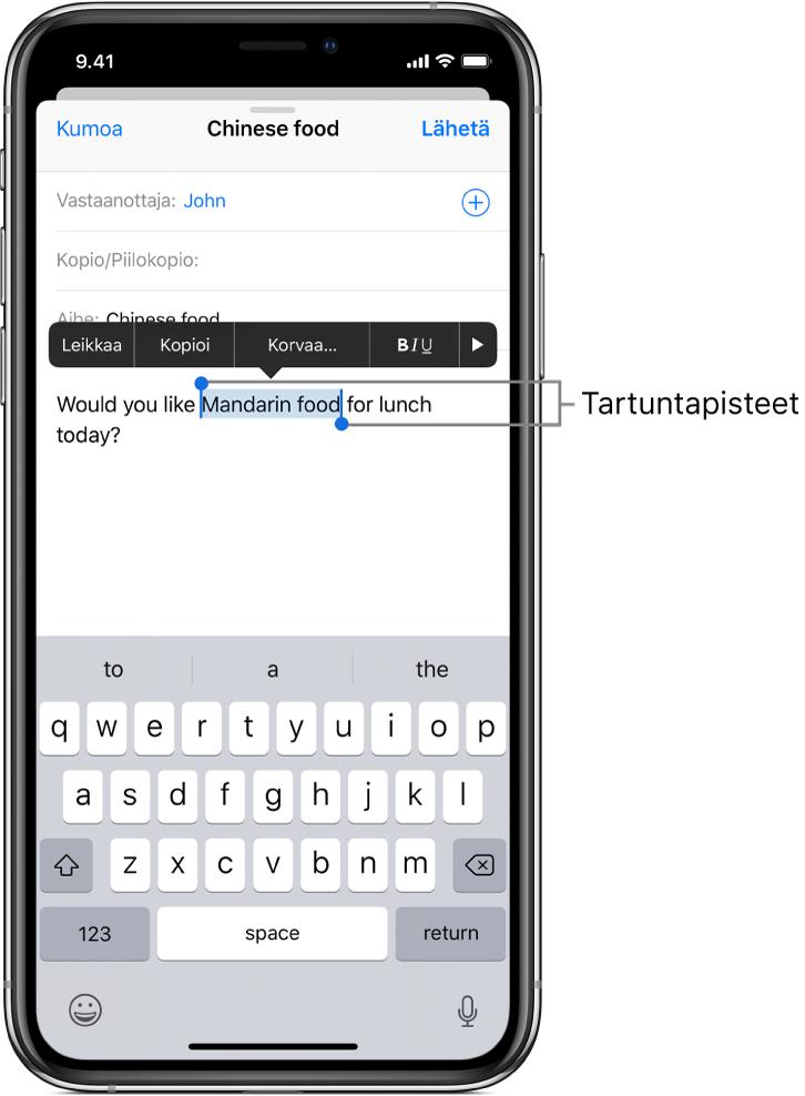 Esimerkki sähköpostiviestistä, jossa osa tekstistä on valittuna. Valinnan yläpuolella ovat leikkaus-, kopiointi-, sijoitus- ja lihavointi/kursivointi/alleviivaus-painikkeet sekä Näytä lisää -painike. Valittu teksti on korostettu, ja sen molemmissa päissä on tarttumispiste.