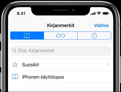 Kirjanmerkit-näyttö, jossa vaihtoehdot suosikkien ja selaushistorian näyttämiselle kirjanmerkkien ohessa.