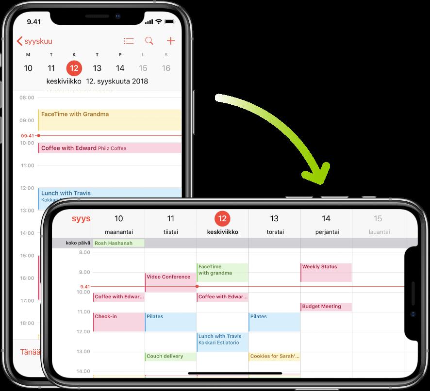 Taustalla olevassa iPhonessa näkyy Kalenteri-näkymä, jossa ovat yhden päivän tapahtumat pystysuunnassa. Etualalla on iPhone käännettynä vaakasuuntaan, ja siinä näkyvät kalenteritapahtumat koko siltä viikolta, jolla päivä on.