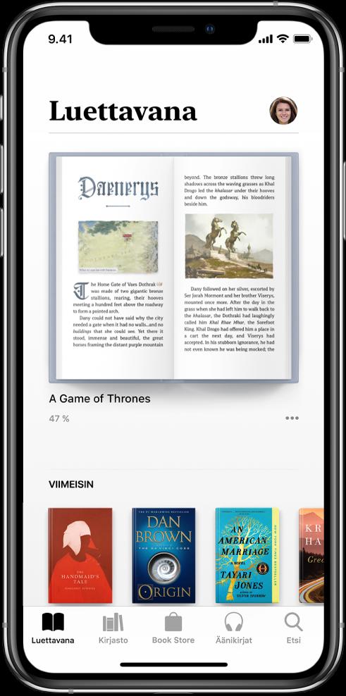 Luettavana-välilehti Kirjat-apissa. Näytön alareunassa vasemmalta oikealle ovat seuraavat välilehdet: Luettavana, Kirjasto, BookStore, Äänikirjat ja Haku.