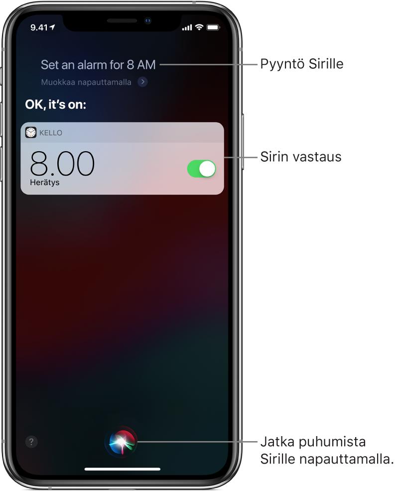 """Siri-näkymä, jossa näkyy, että Siriä on pyydetty laittamaan päälle herätys kello 8 aamulla, ja Siri vastaa """"Selvä, se on päällä"""". Kello-apin ilmoitus kertoo, että herätys on laitettu päälle kello 8.00 aamulla. Näytön alaosassa keskellä olevalla painikkeella voidaan jatkaa puhumista Sirille."""