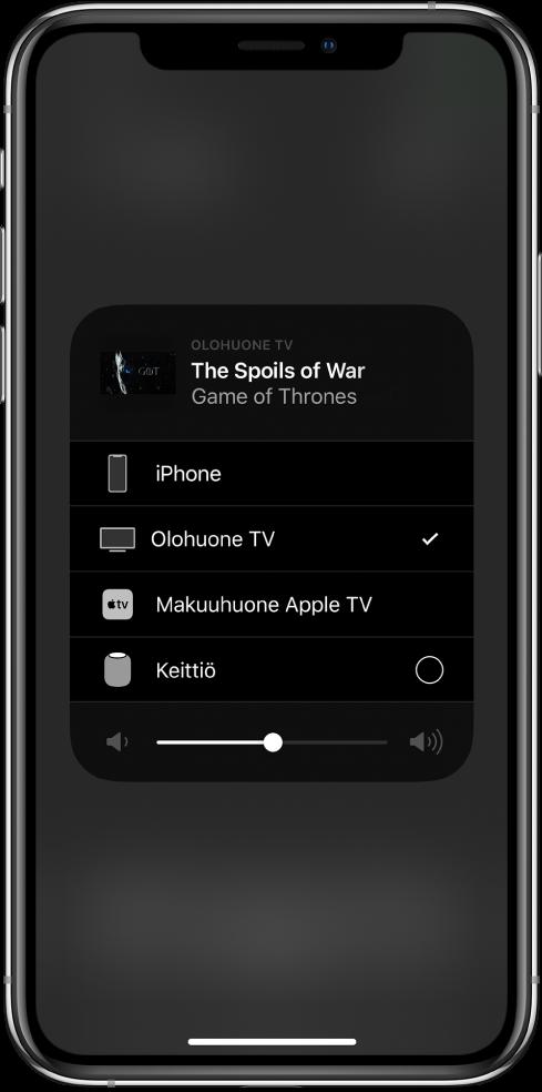 AirPlay-ikkuna on auki ja siinä näkyy TV-ohjelman jakson nimi. Alla on luettelo AirPlay-laitteista. Olohuoneen TV on valittuna. Ikkunan alareunassa näkyy äänenvoimakkuuden liukusäädin.