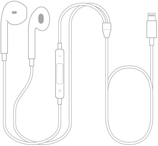 Lightning-liittimellä varustetut EarPods-kuulokkeet.