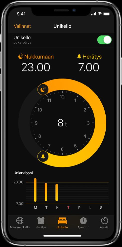 Unikello-välilehti, jossa näkyy nukkumaanmenoaika kello 11 illalla ja herätysaika kello 7 aamulla.