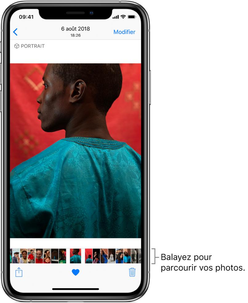 Une photo, avec les vignettes d'autres photos au bas de l'écran. En haut à gauche se trouve un bouton Retour permettant de revenir à l'onglet que vous étiez en train de parcourir. En bas, vous trouverez les boutons Partager, Aimer et Supprimer. En haut à droite se trouve le bouton Modifier.
