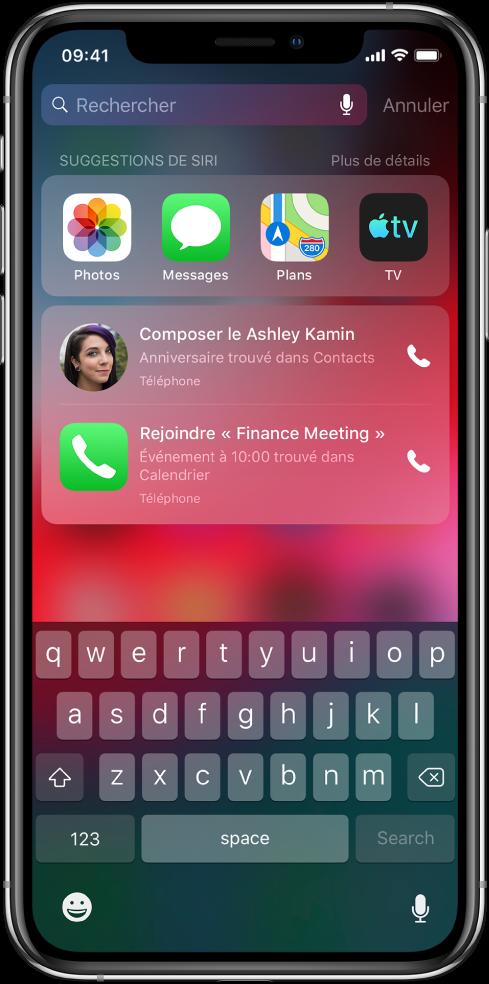 Un écran de recherche affichant une rangée d'apps sous le libellé «Suggestions de Siri». Sous cette rangée se trouvent d'autres suggestions de Siri, à savoir appeler une amie pour son anniversaire et participer à une réunion figurant dans votre calendrier.