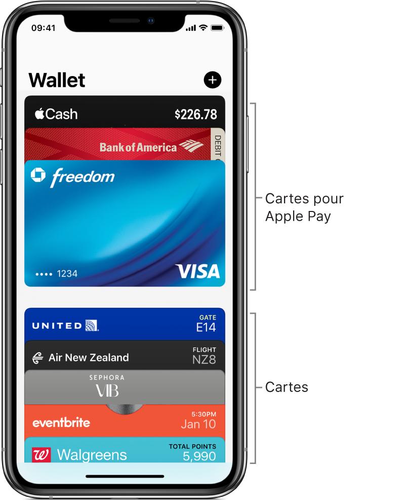 L'écran Wallet affichant plusieurs cartes bancaires et passes.