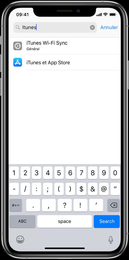 L'écran permettant de rechercher des réglages, avec le champ de recherche en haut de l'écran. La chaîne de recherche «iTunes» apparaît dans le champ de recherche, et deux réglages trouvés s'affichent dans la liste sous le champ de recherche.