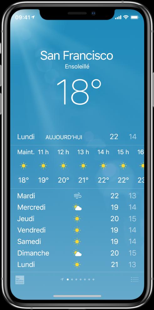 L'écran Météo avec la ville, les conditions actuelles et les températures actuelles. En dessous est affichée la prévision horaire actuelle suivie par celles des 5prochains jours. Une rangée de points en bas au centre indique le nombre de villes.