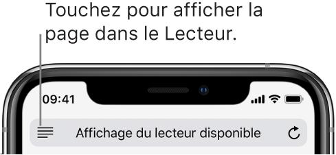 Le champ d'adresse de Safari, avec le bouton Lecteur à gauche.