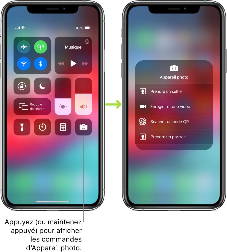 Deuxécrans Centre de contrôle côte à côte: celui de gauche affiche les commandes pour le modeAvion, les données cellulaires, le Wi-Fi et le Bluetooth dans le groupe situé en haut à gauche, avec une légende invitant l'utilisateur à appuyer sur l'appareil photo (ou à le toucher et maintenir le doigt dessus) pour afficher les commandes associées. L'écran de droite affiche des options supplémentaires pour l'appareil photo: Prendre un selfie, Enregistrement vidéo, Scanner un codeQR et Prendre un portrait.