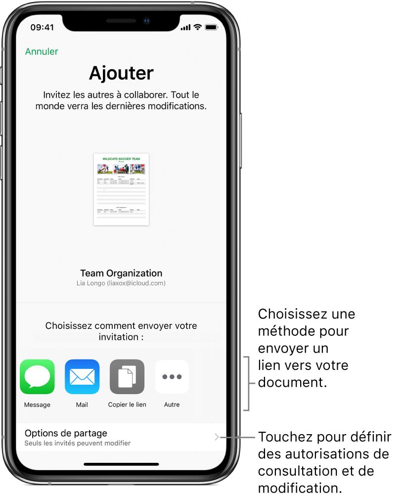 Un écran permettant d'inviter des personnes à consulter et à modifier votre fichier. Les méthodes pour envoyer l'invitation incluent Message et Mail. Les options de partage apparaissent au-dessous.