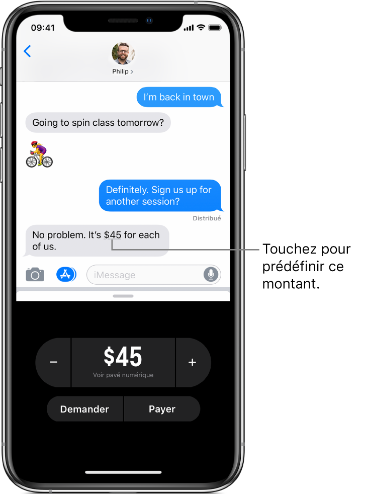 Une conversation iMessage avec l'app ApplePay ouverte en bas.