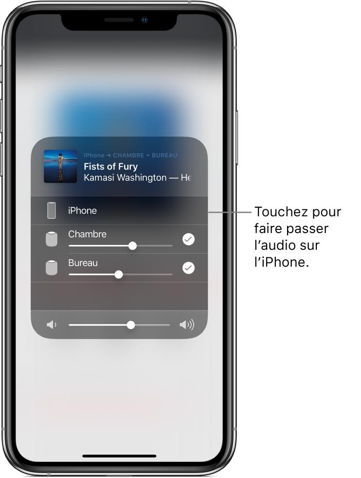 Une fenêtre AirPlay est ouverte et affiche le titre d'un morceau et le nom de l'artiste en haut, avec un curseur de volume en bas. Les haut-parleurs de la chambre et du bureau sont sélectionnés. Une légende montrant un iPhone sur lequel est affiché: «Touchez pour basculer le son sur l'iPhone».