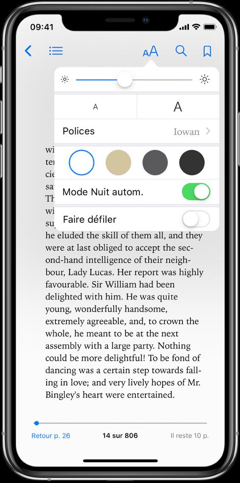 Le menu Apparence affichant, de haut en bas, les commandes relatives à la luminosité, à la taille de la police, au style de la police, à la couleur de la page, au mode Nuit automatique et à la présentation en défilement.