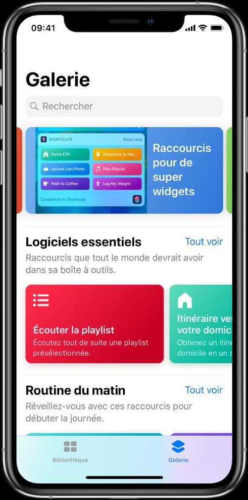 L'onglet Galerie dans l'app Raccourcis, avec des suggestions de raccourcis.
