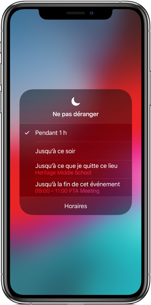 Un écran montrant les options permettant d'activer Ne pas déranger pendant une heure, jusqu'au soir, jusqu'à quitter un certain lieu ou jusqu'à la fin d'un événement.
