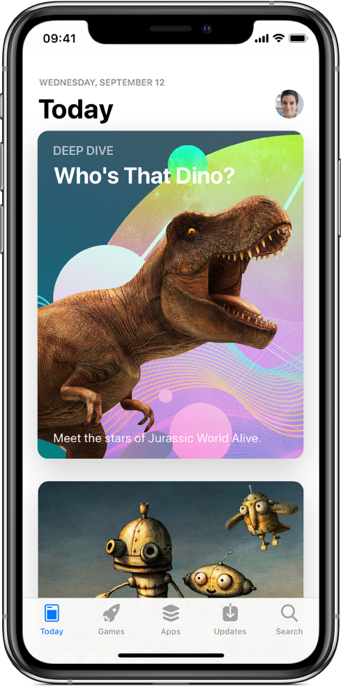 L'écran Aujourd'hui de l'AppStore, avec une app recommandée. Votre photo de profil, que vous touchez pour afficher vos achats, se trouve en haut à droite de l'écran. En bas de l'écran, de gauche à droite, se trouvent les onglets Aujourd'hui, Jeux, Apps, Mises à jour et Recherche.