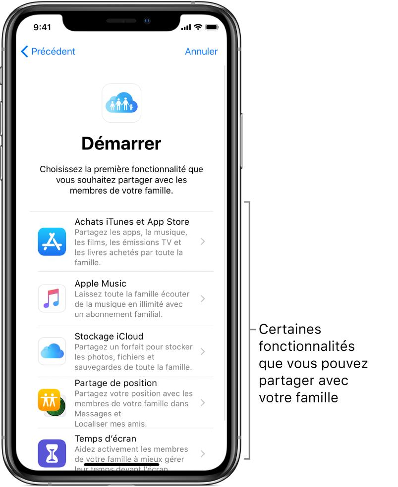 L'écran Démarrer pour la configuration de Partage familial. Il affiche les cinq fonctionnalités que vous pouvez commencer à partager avec votre groupe familial: achats dans l'iTunes et l'AppStore, AppleMusic, stockage iCloud, Partage de position et Temps d'écran.