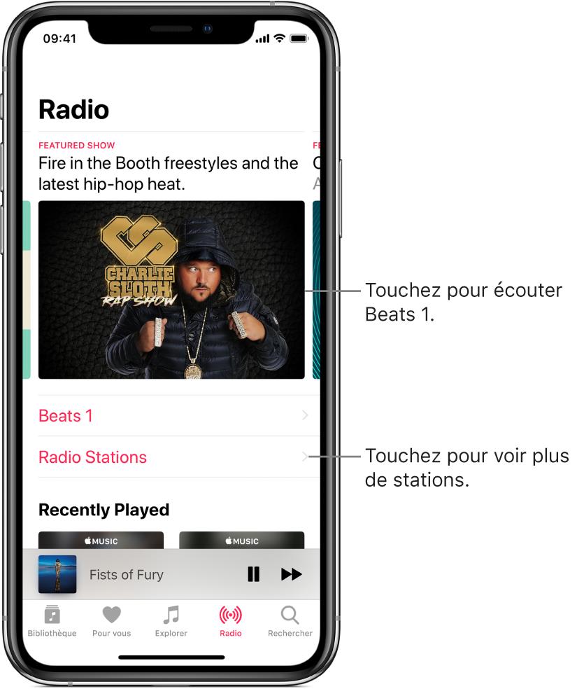 L'écran de Radio présentant Beats1 en haut. Beats1 et les stations de radio apparaissent en dessous.