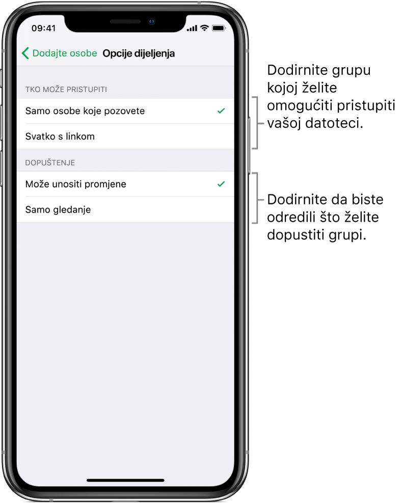 Zaslon Opcije dijeljenja koji prikazuje dopuštenja koja možete podesiti za dijeljenu datoteku. Na vrhu se nalaze opcije za osobe koje mogu pristupiti datoteci (samo osobe koje pozovete ili svatko tko ima link na datoteku). Ispod toga se nalaze postupci koje želite omogućiti za te osobe (unos izmjena u datoteku ili samo njen pregled).