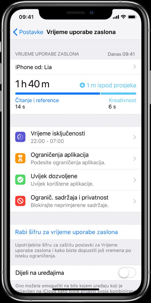 Postavke Vremena uporabe zaslona koje možete uključiti — Vrijeme isključenosti, Ograničenja aplikacija, Uvijek dozvoljeno te Ograničenja sadržaja i privatnosti.