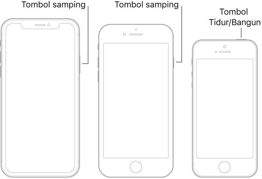 Tombol samping atau tombol Tidur/Bangun di tiga model iPhone yang berbeda.