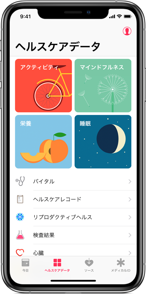 「ヘルスケア」Appの「ヘルスケアデータ」画面。「アクティビティ」、「マインドフルネス」、「栄養」、「睡眠」のカテゴリが表示されています。右上にはプロフィールボタンがあります。下部には左から順に、「今日」、「ヘルスケアデータ」、「ソース」、「メディカルID」タブがあります。