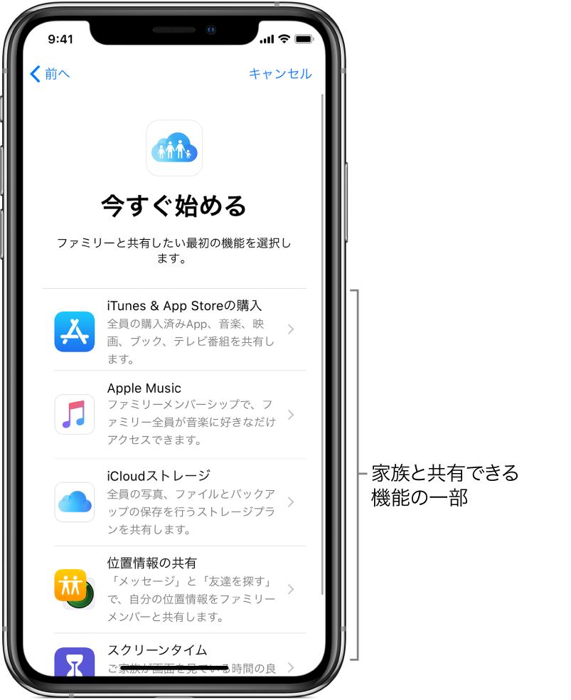 ファミリー共有設定の「さあ、はじめよう!」画面。家族グループとの共有を開始できる、iTunes StoreとAppStoreで購入した項目、AppleMusic、iCloudストレージ、位置情報共有、およびスクリーンタイムの5つの機能が表示されています。