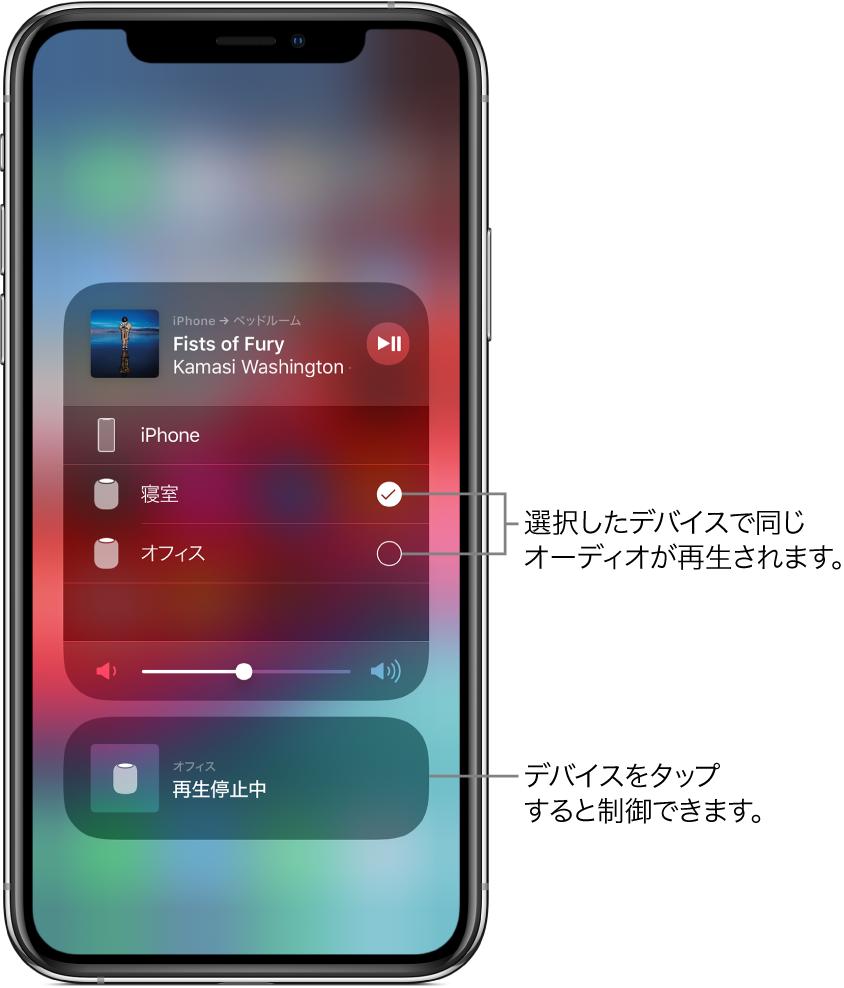 AirPlay画面。2枚のカードが表示されています。上部にあるiPhoneのオーディオカードは開いていて、曲名とアーティスト名が表示されています。このカードには、寝室とオフィスの2つのスピーカーが表示され、寝室のスピーカーが選択されています。2台のスピーカーを指して「選択したデバイスで同じオーディオが再生されます。」と書かれています。開いたカードの下部に音量スライダが表示されています。画面の下部には、オフィスのスピーカーの閉じたカードが表示され、「再生停止中」と表示されています。下部の閉じたカードを指して「デバイスをタップすると制御できます。」と書かれています。