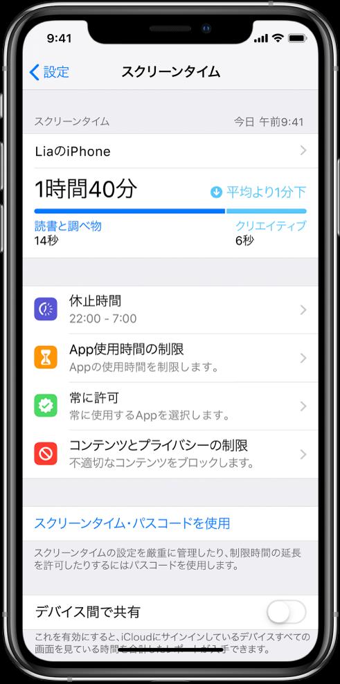 「スクリーンタイム」の設定。「休止時間」、「App使用時間の制限」、「常に許可」、「コンテンツとプライバシーの制限」をオンにすることができます。