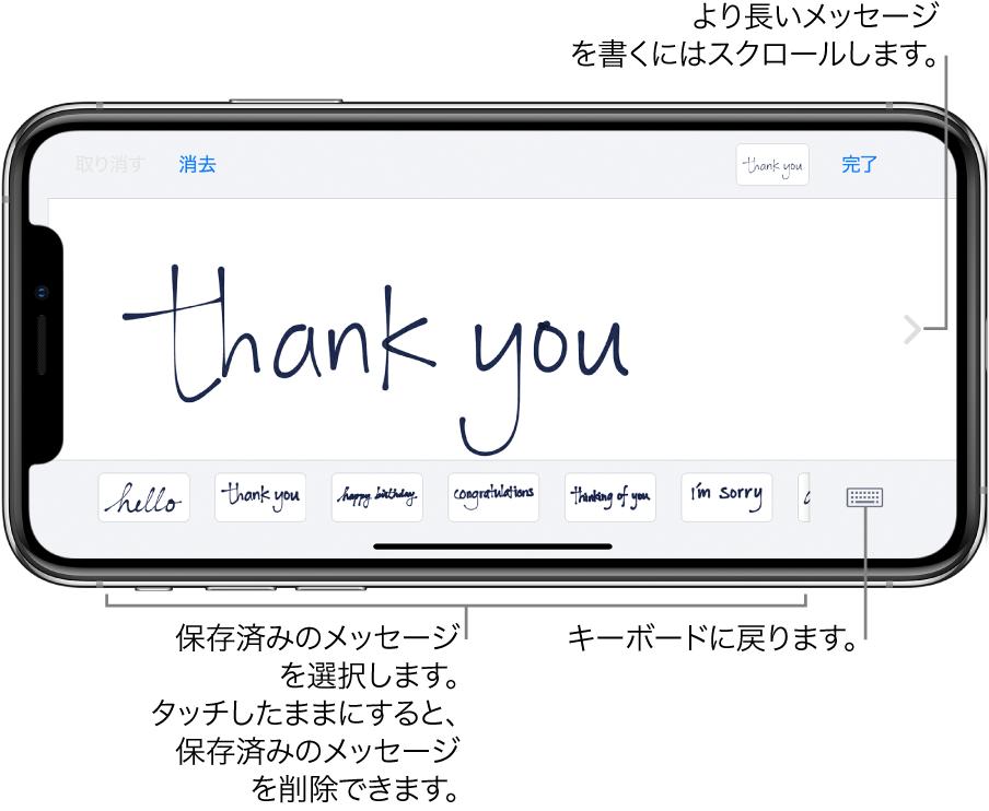 手書きメッセージが表示された手書き画面。下部には左から順に、保存済みのメッセージ、「キーボードを表示」ボタンがあります。