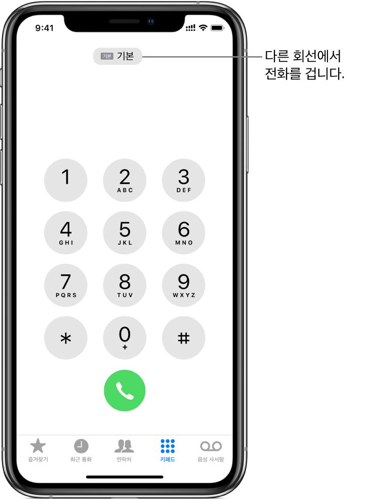 전화 키패드. 화면 하단을 따라 왼쪽에서 오른쪽으로 즐겨찾기, 최긑 통화, 연락처, 키패드 및 음성 사서함 탭이 있습니다.