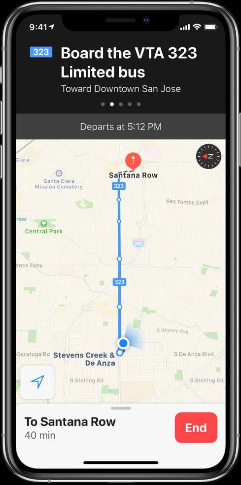 """Tranzitinis žemėlapis, kuriame nurodyti autobuso maršruto sustojimai. Ekrano vaizdo viršuje pateiktoje juostoje rodoma instrukcija: """"Board the VTA 323 Limited bus toward downtown San Jose."""""""