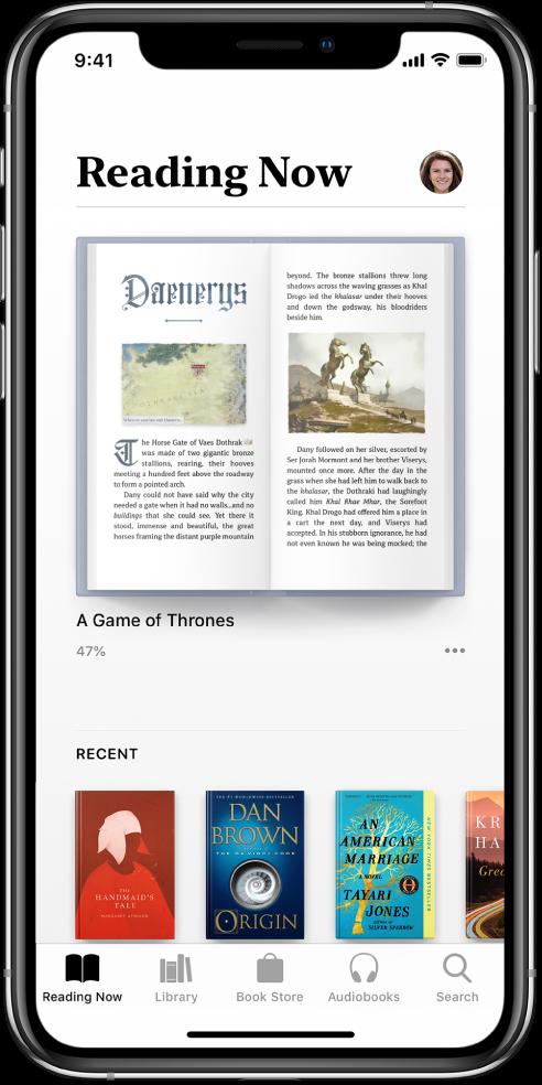 """""""Reading Now"""" ekranas programoje """"Books"""". Ekrano apačioje iš kairės į dešinę pateikiami skirtukai """"Reading Now"""", """"Library"""", """"Book Store"""", """"Audiobooks"""" ir """"Search""""."""
