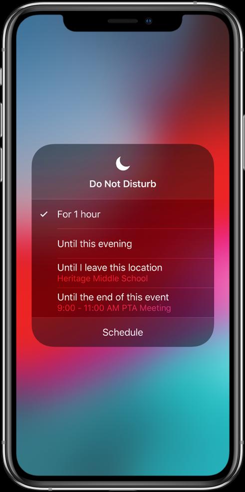 """Ekranas, kuriame pasirenkama, kaip ilgai bus įjungta funkcija """"Do Not Disturb"""". Parinktys: """"For 1 hour"""" (1 valandą), """"Until this evening"""" (iki šio vakaro), """"Until I leave this location"""" (kol būsiu šioje vietoje), """"Until the end of this event"""" (iki vakaro pabaigos)."""