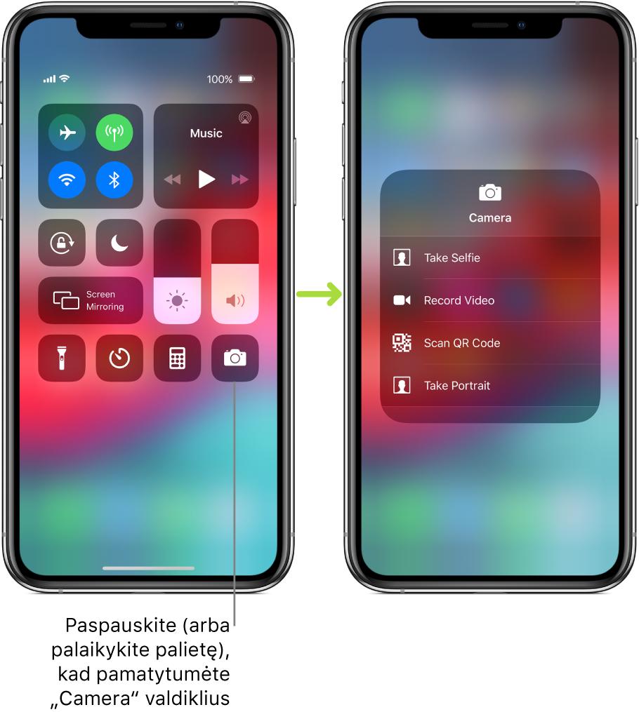 """Du """"Control Center"""" ekranai vienas prie kito – kairiojo ekrano viršutinėje kairiojoje grupėje rodomi lėktuvo režimo, mobiliojo ryšio duomenys, """"Wi-Fi"""" ir """"Bluetooth"""" valdikliai, taip pat nurodoma paspausti (arba paliesti ir palaikyti) """"Camera"""", kad pamatytumėte """"Camera"""" valdiklius. Dešiniajame ekrane rodomos papildomos """"Camera"""" parinktys. """"Take Selfie"""", """"Record Video"""", """"Scan QR Code"""" ir """"Take Portrait""""."""
