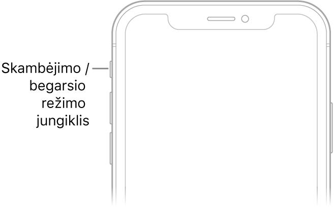 """Viršutinė """"iPhone"""" priekinės pusės dalis ir paaiškinimas, kuriame nurodytas skambėjimo / tylos jungiklis."""