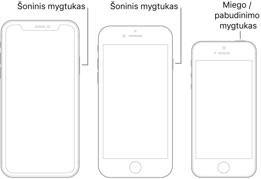 """Paveikslėlis, kuriame nurodytos """"iPhone"""" šoninių bei miego / pažadinimo mygtukų vietos."""