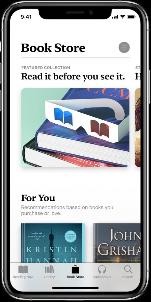 """Programos """"Books"""" skirtuko """"Book Store"""" ekranas. Ekrano apačioje iš kairės į dešinę pateikiami skirtukai """"Reading Now"""", """"Library"""", """"Book Store"""", """"AudioBooks"""" ir """"Search"""" – pasirinktas skirtukas """"Book Store"""". Ekrane taip pat rodomos knygos ir knygų kategorijos, kurias galima naršyti ir įsigyti."""