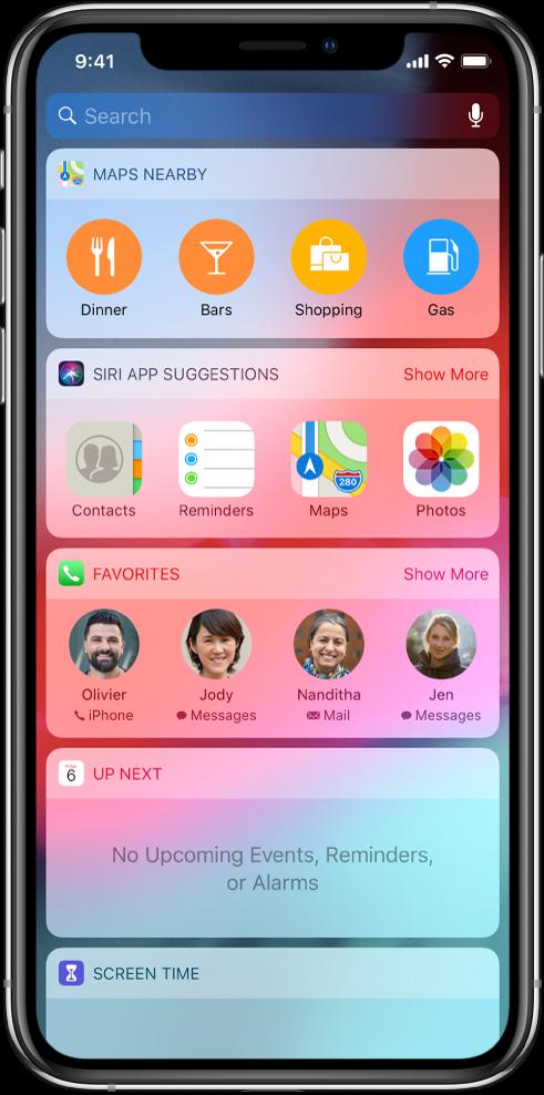 """Ekranas """"Today View"""", kuriame rodomi funkcijų """"Maps Nearby"""", """"Siri App Suggestions"""", """"Favorites"""" """"Up Next"""" ir """"Screen Time"""" valdikliai."""