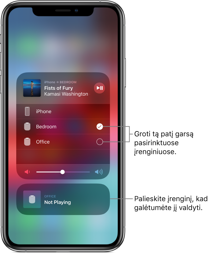 """""""AirPlay"""" ekranas, rodantis dvi korteles. """"iPhone"""" garso kortelė pateikta viršuje ir joje rodomi dainos pavadinimas bei atlikėjas. Šioje kortelėje rodomi du garsiakalbiai – miegamojo ir biuro; pasirinktas miegamojo garsiakalbis. Paaiškinimas nurodo du garsiakalbius ir matomas užrašas """"Play the same audio on selected devices"""". Atidarytos kortelės apačioje pasirodo garso slankiklis. Ekrano apačioje pateikta uždaryta biuro garsiakalbio kortelė, kurioje rodoma """"Not Playing"""". Paaiškinimas nurodo apatinę uždarytą kortelę ir matomas užrašas """"Tap a device to control it""""."""