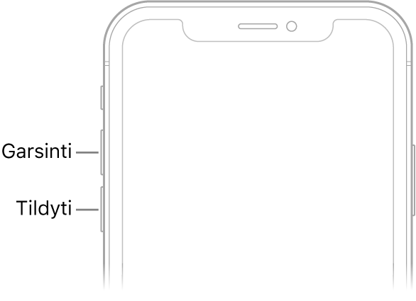 """Viršutinė priekinė """"iPhone"""" dalis su garsinimo bei tylinimo mygtukais viršuje kairėje."""